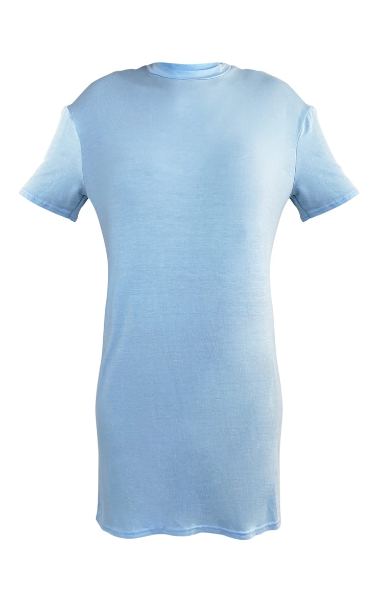 Blue Marl Basic Fitted T Shirt Dress 5