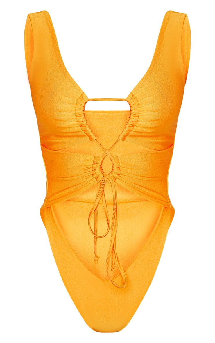 Orange Cut Out Adjustable String Swimsuit 3