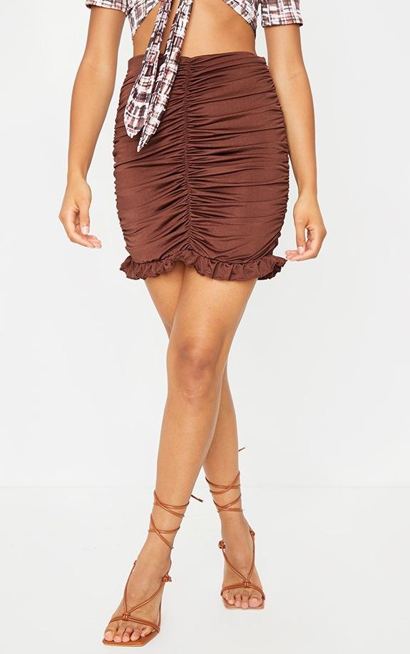 Chocolate Slinky Ruched Frill Hem Mini Skirt 2