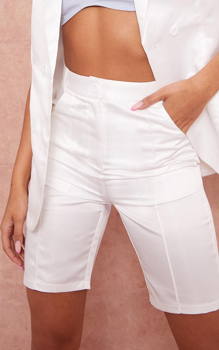 White Structured Satin Longline Shorts 5