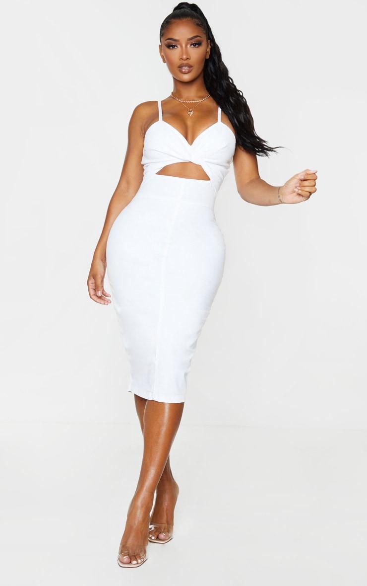 Shape White Denim Twist Front Midi Dress