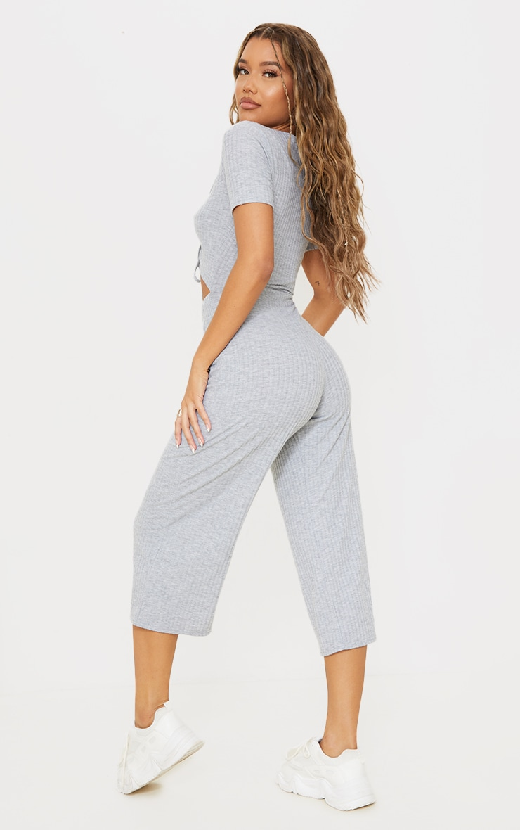 Grey Marl Brushed Rib Ruched Bust Culotte Jumpsuit 2