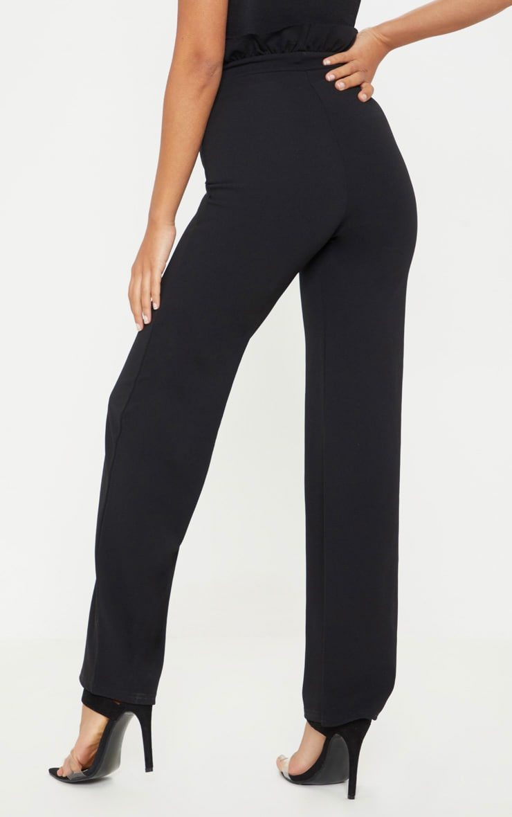 Petite Black Frill High Waist Trousers 4