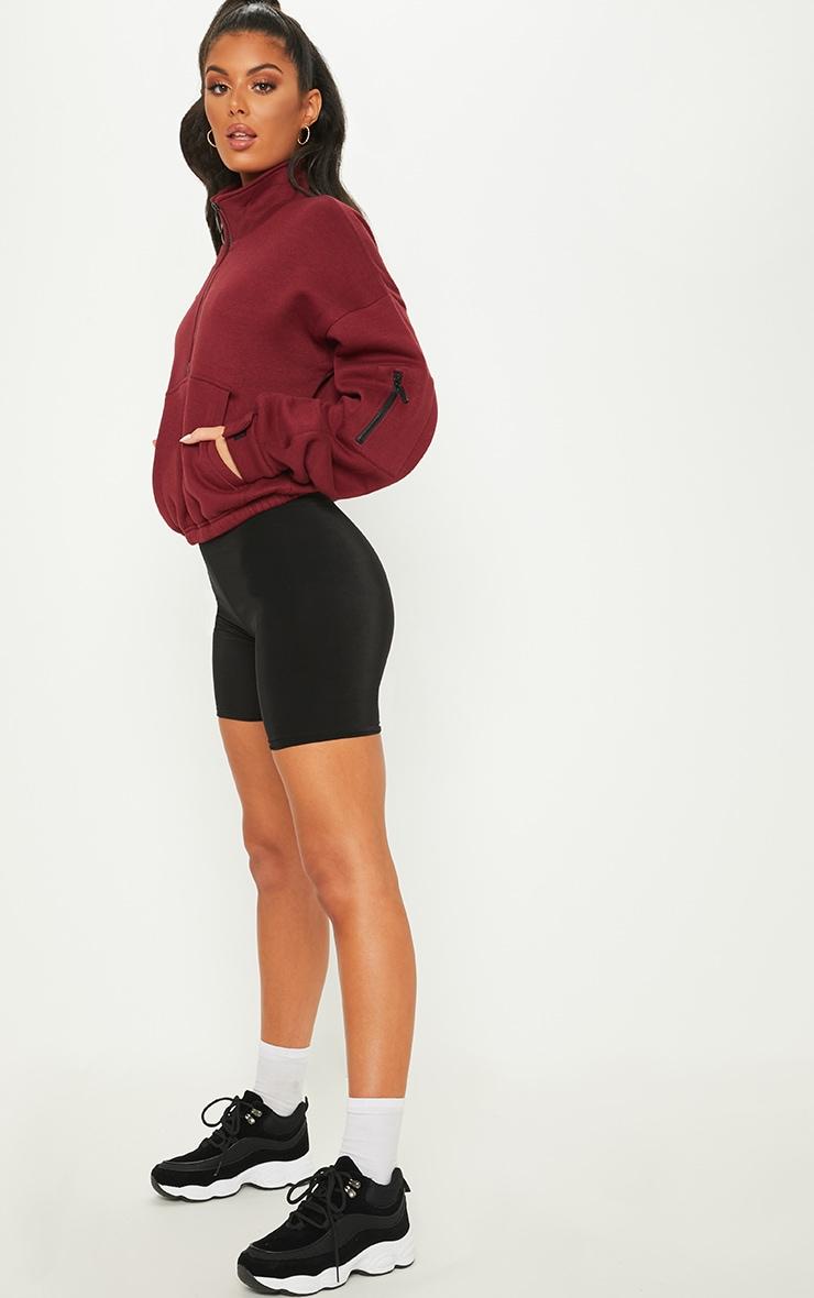 Burgundy Oversized Zip Front Sweater 4