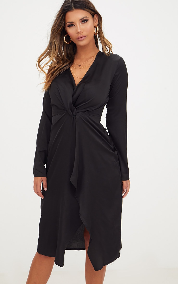 Black Satin Long Sleeve Wrap Midi Dress 4