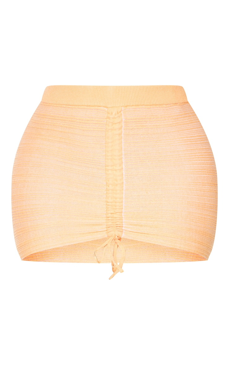 Shape Peach Contrast Knit Ruched Front Bodycon Skirt 6
