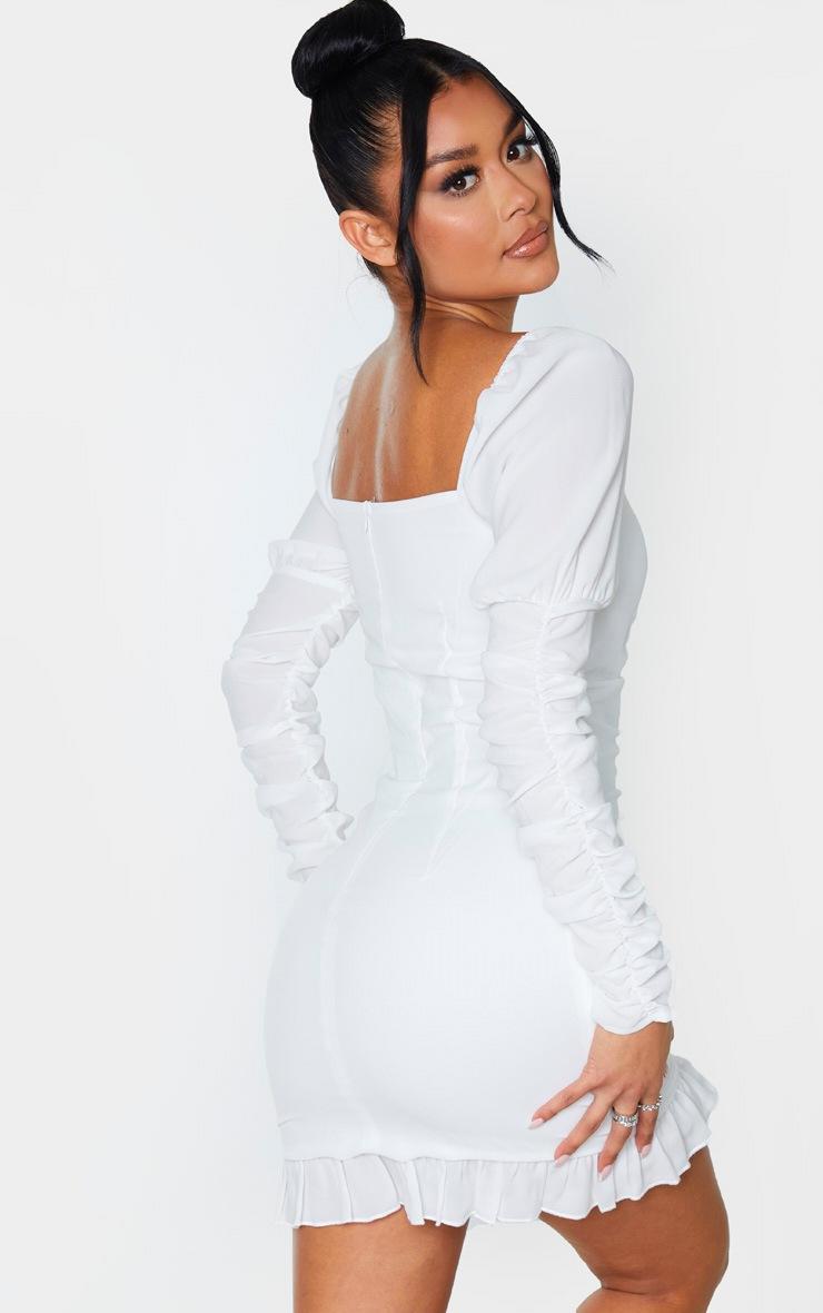 White Ruched Frill Hem Bodycon Dress 2