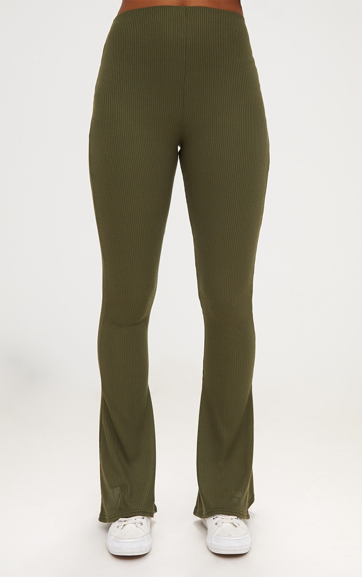 Khaki Ribbed Flared Pants 2