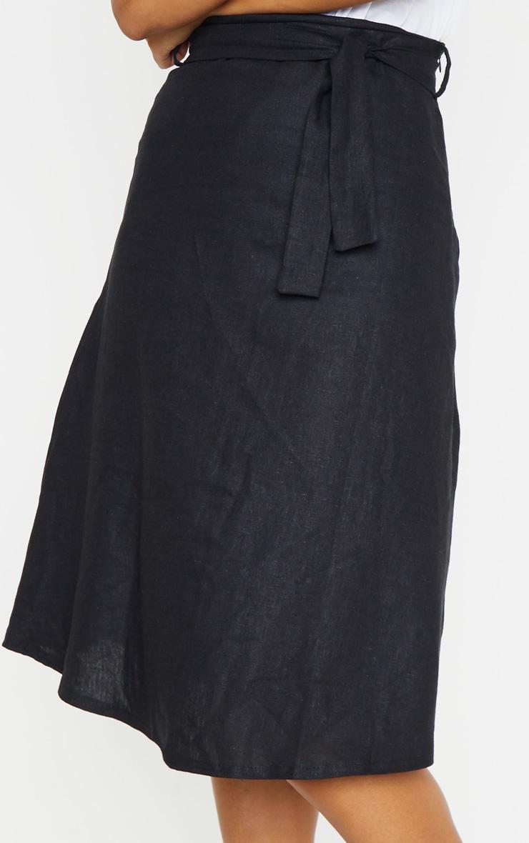 Black Linen Mix Tie Waist Midi Skirt 5