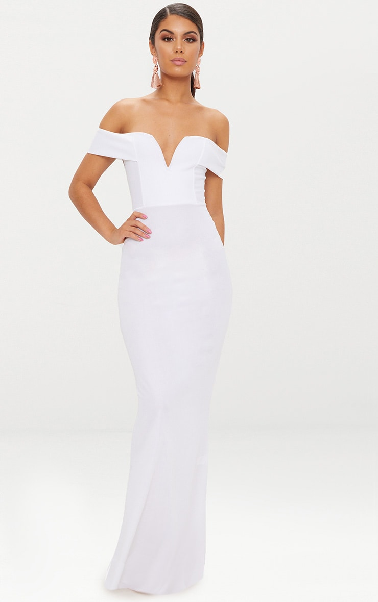 White Bardot V Plunge Maxi Dress