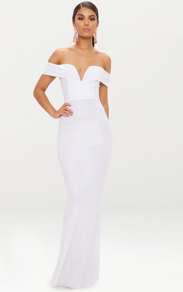White Bardot V Plunge Maxi Dress 1