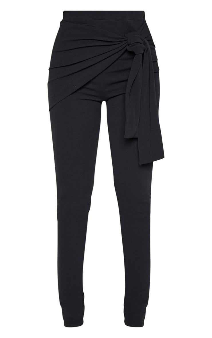Tall Black Tie Detail Crepe Pants 3