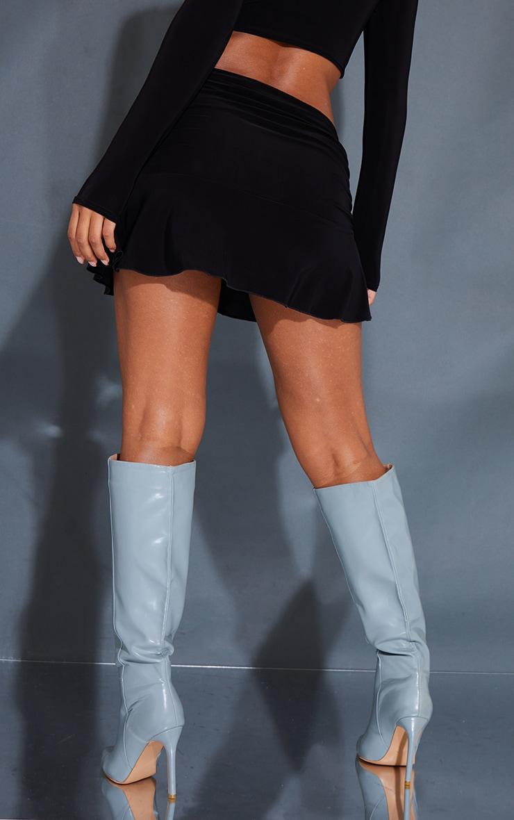 Black Ruched Slinky Frill Hem Mini Skirt 3