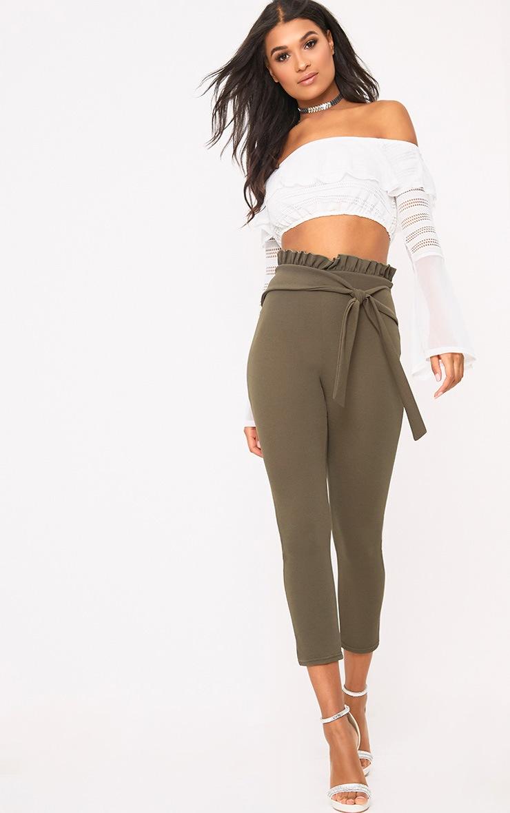 Khaki Paper Bag Skinny Trousers 1