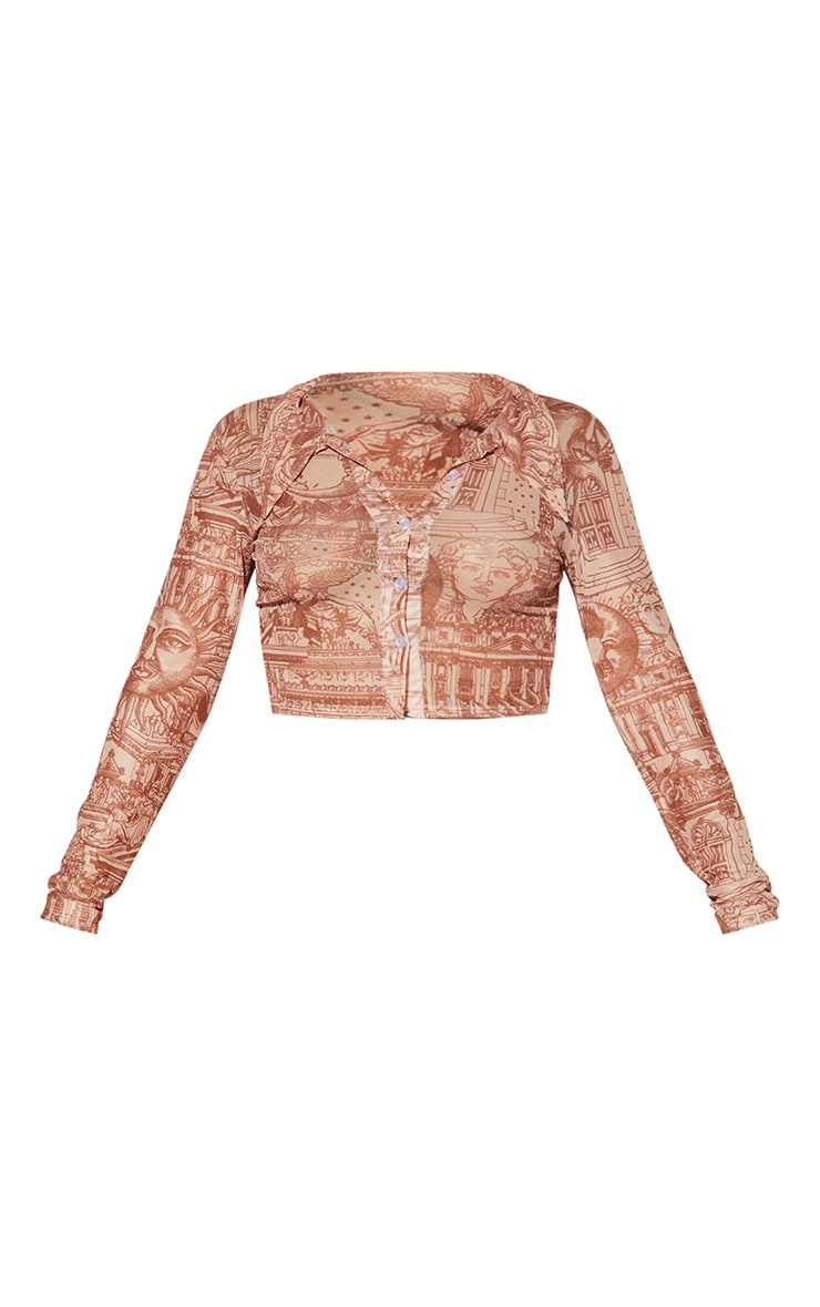Tan  Renaissance Print Mesh Crop Shirt 5