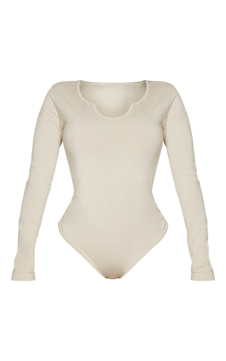 Shape Sand Cotton V Neck Long Sleeve Bodysuit 3