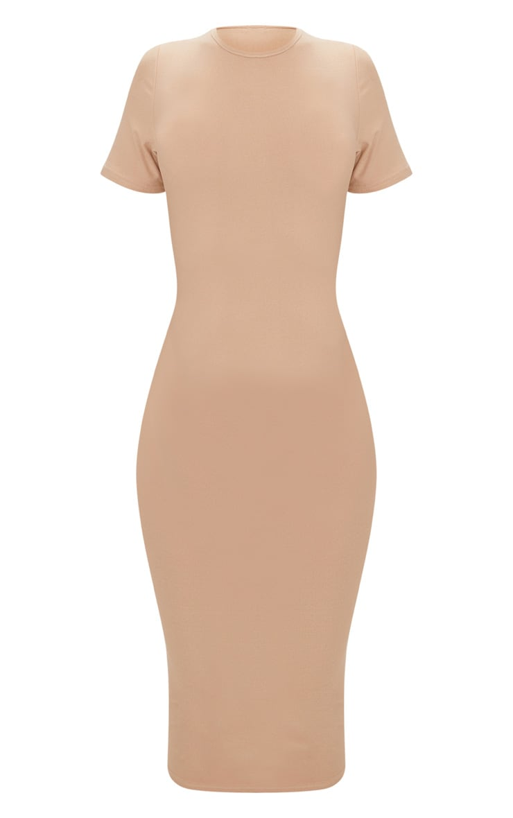 Taupe Blue Cap Sleeve Midi Dress  3