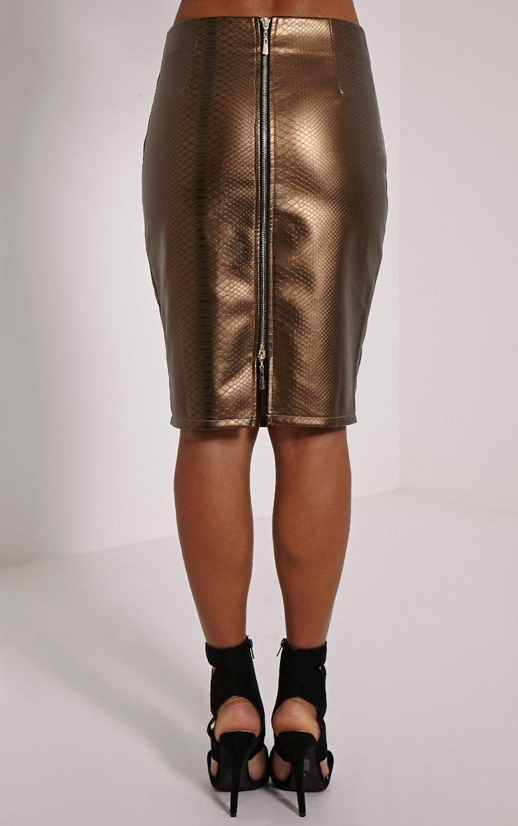 Mollie Gold Snake Print Faux Leather Midi Skirt 4