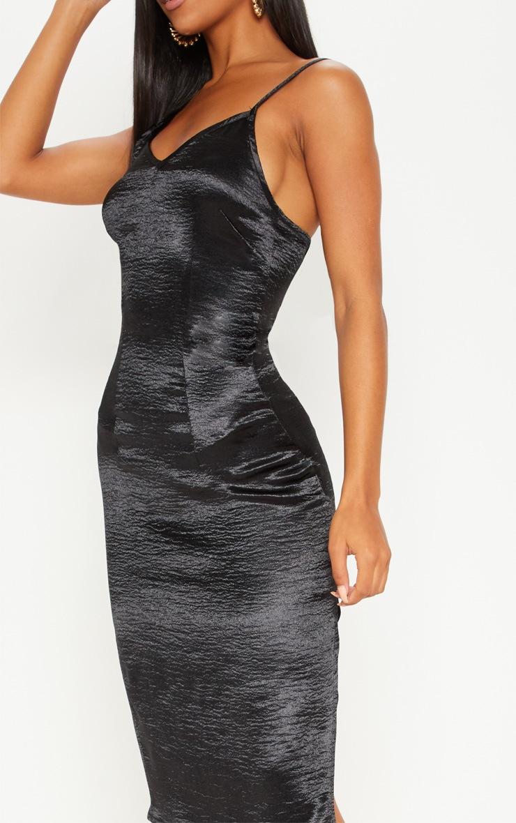 Black Satin Slip Midi Dress 5