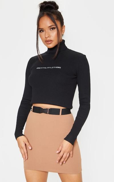 Taupe Buckle Detail Mini Skirt