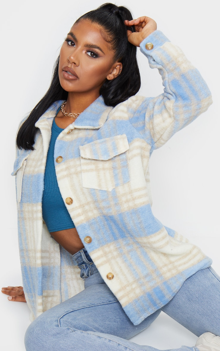 Blue Brushed Check Print Shacket 1