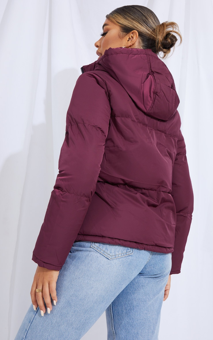 Burgundy Hooded Drawcord Hem Puffer Jacket 2