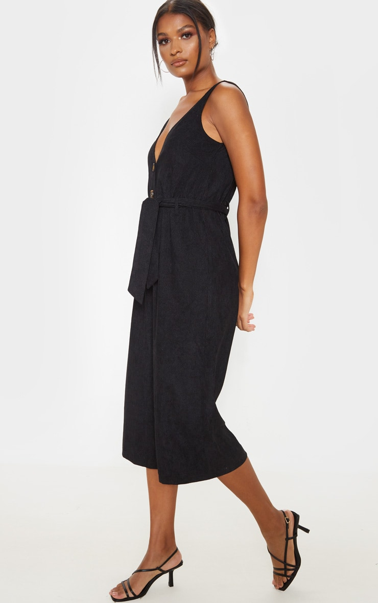 Black Cord Button Front Culotte Jumpsuit 4