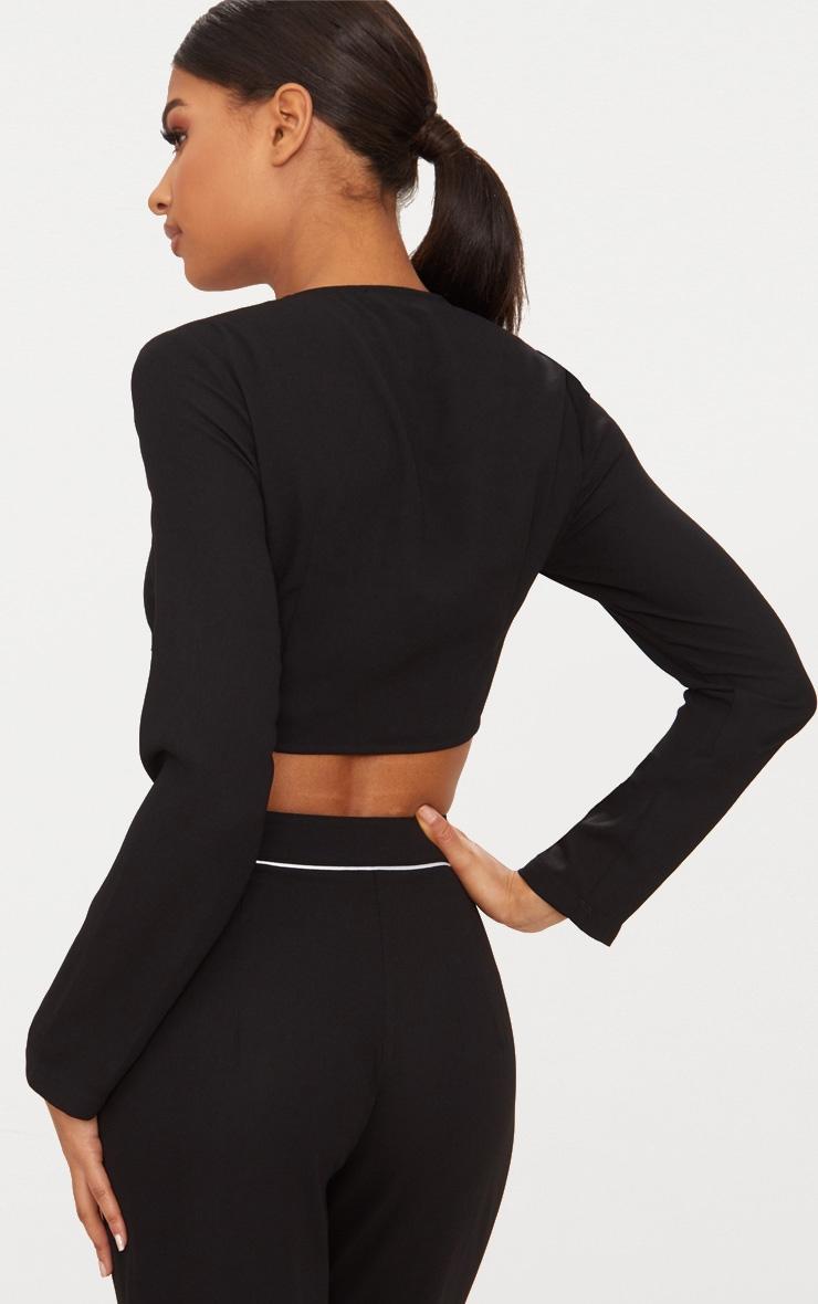 Black Tie Front Long Sleeve Crop Top 2