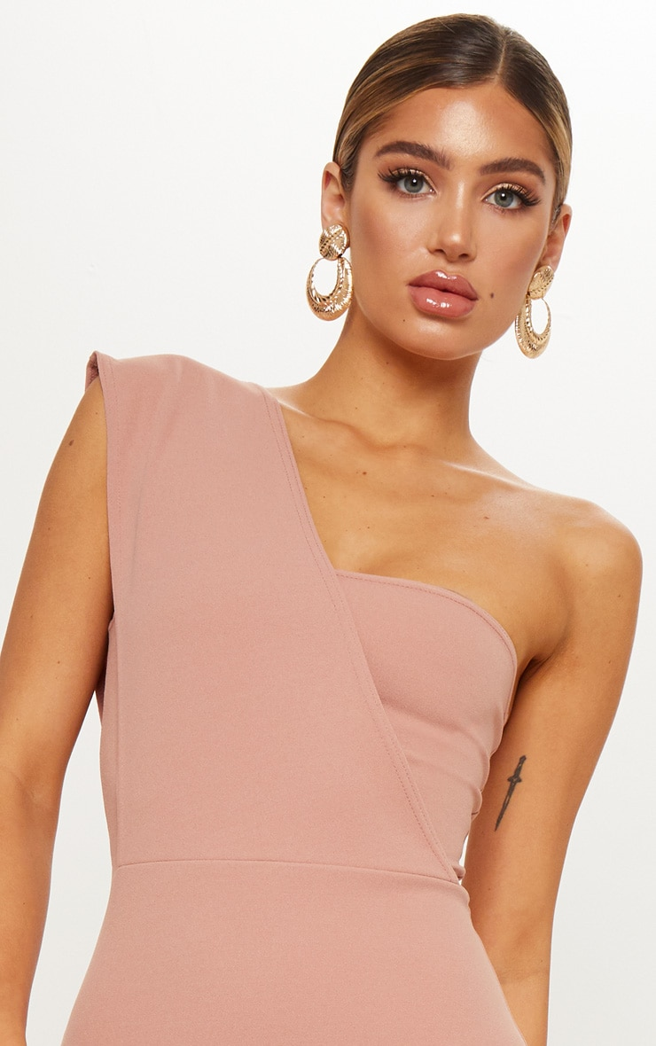 Dusty Pink One Shoulder Draped Midi Dress 4