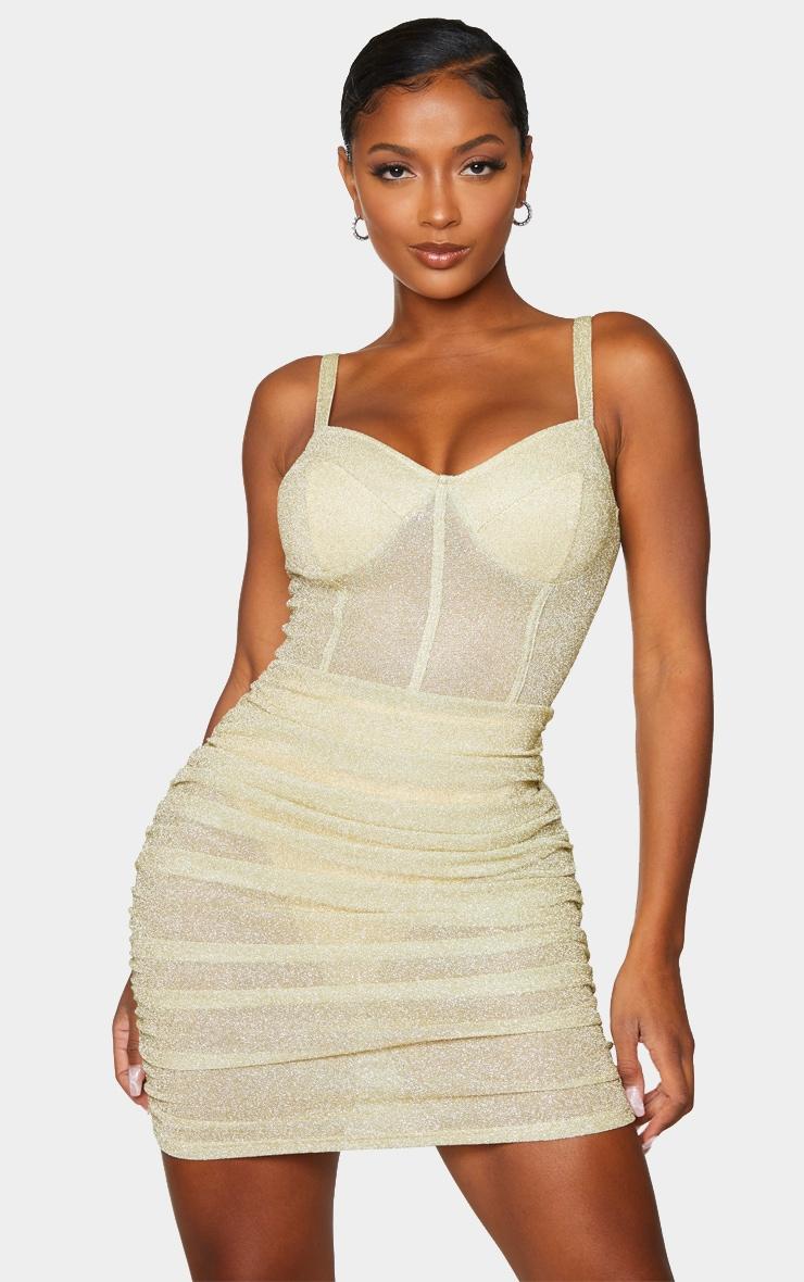 Shape Champagne Glitter Mesh Cup Detail Binding Bodycon Dress 1