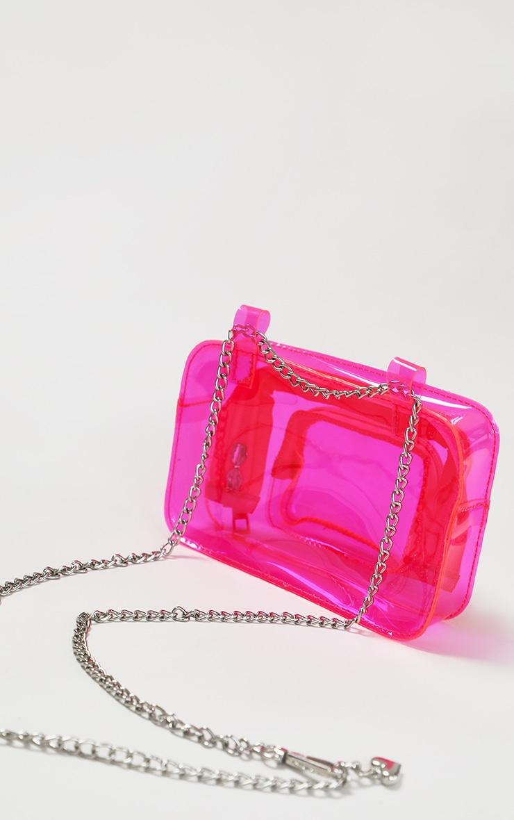 Pink Clear PU Chain Belt Bag 2