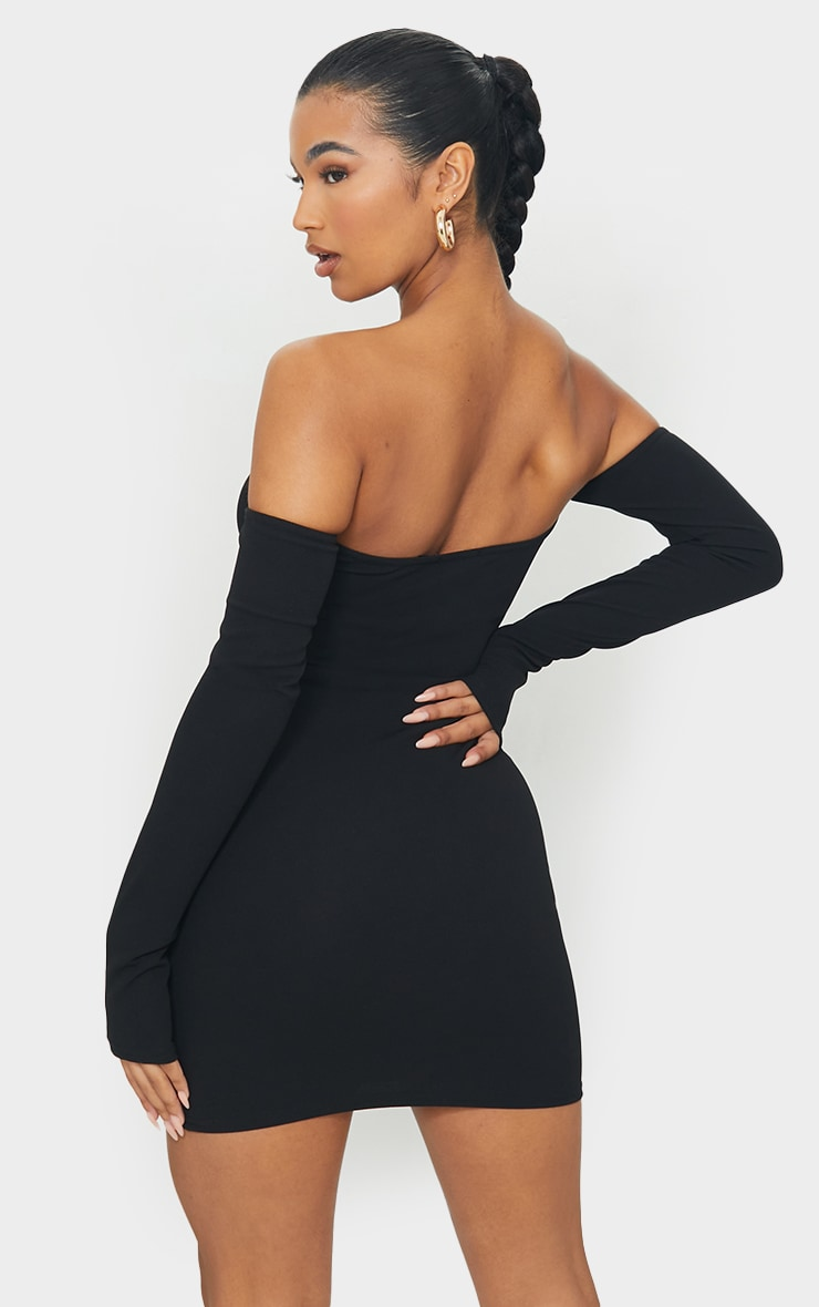 Black Bardot Thumbhole Bodycon Dress 2