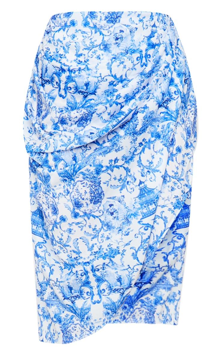 Blue Porcelain Print Ruched Side Midi Skirt 5