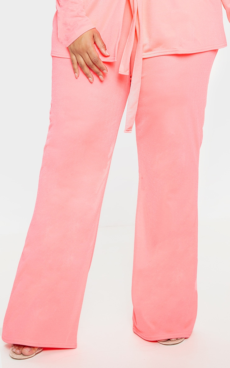 Plus Neon Pink Wide Leg Trouser  2