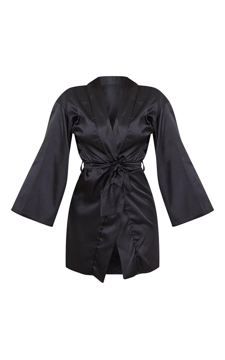 Robe de chambre satinée noire 5