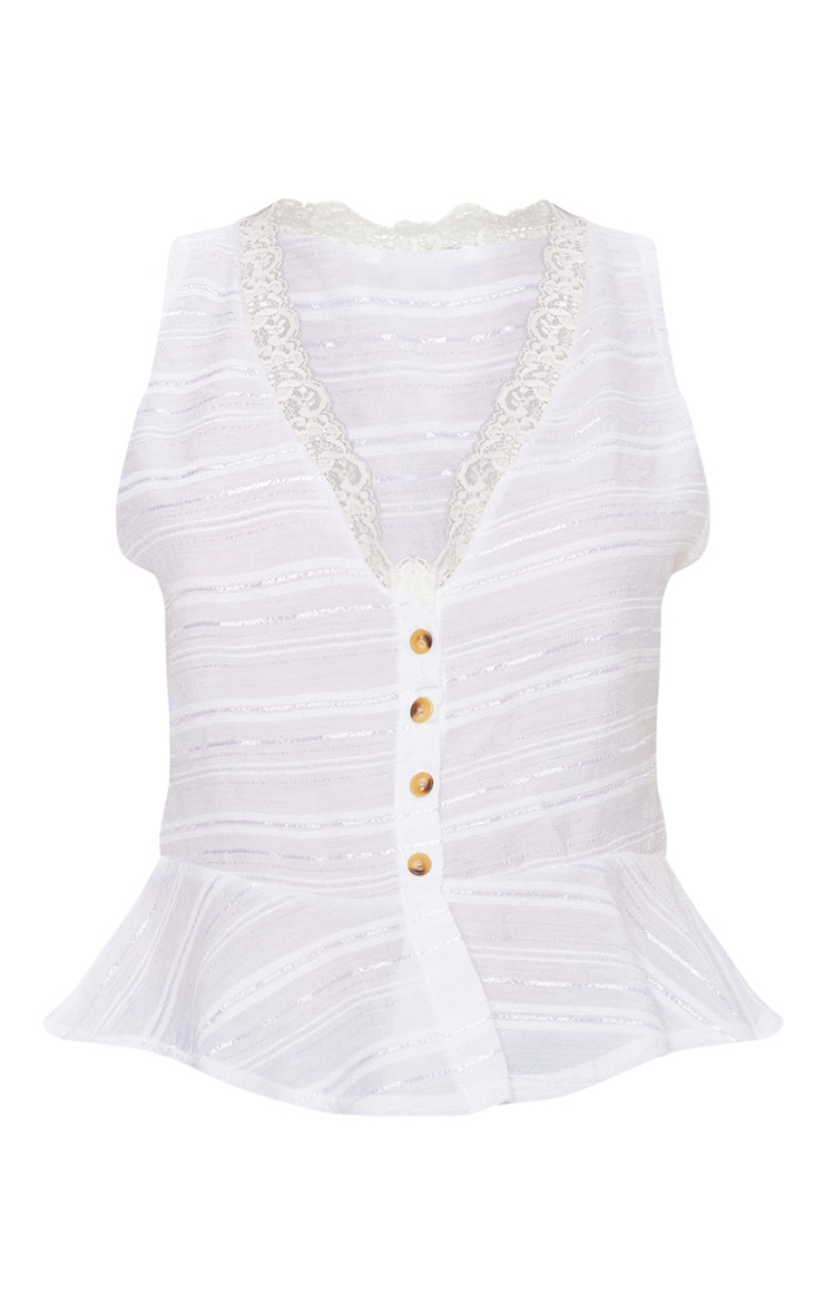 White Sleeveless Contrast Button Blouse 3