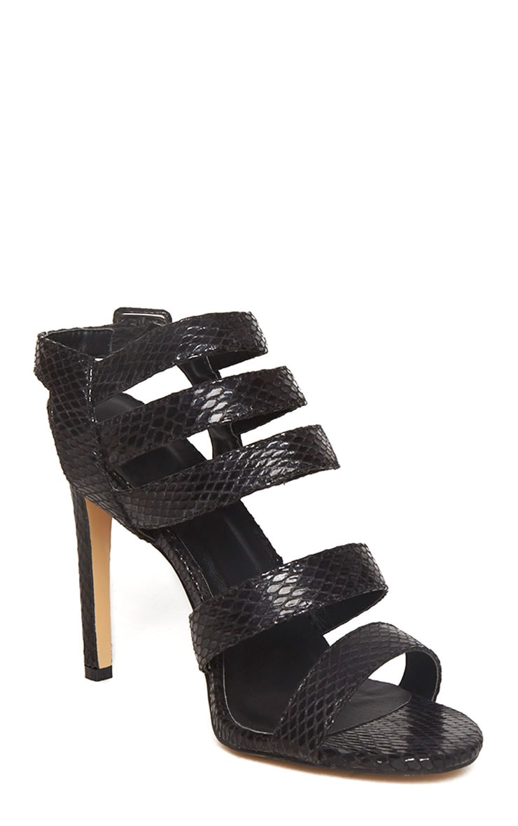 Jemimah Black Strappy Heeled Sandals 2