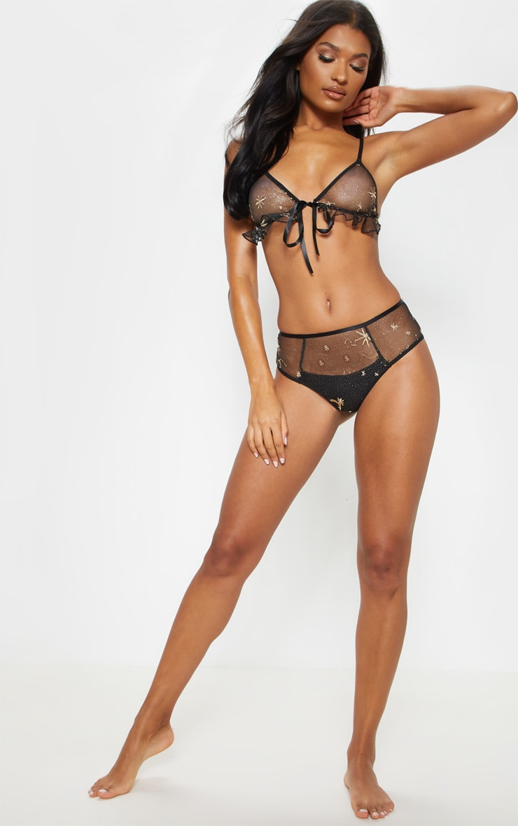 Black Star Embroidered Triangle Lingerie Set  4