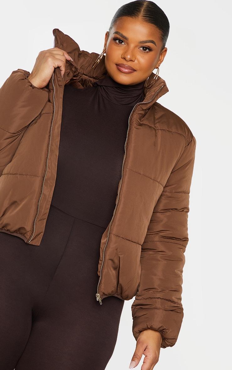 Plus Chocolate Brown Collar Detail Puffer Jacket 4