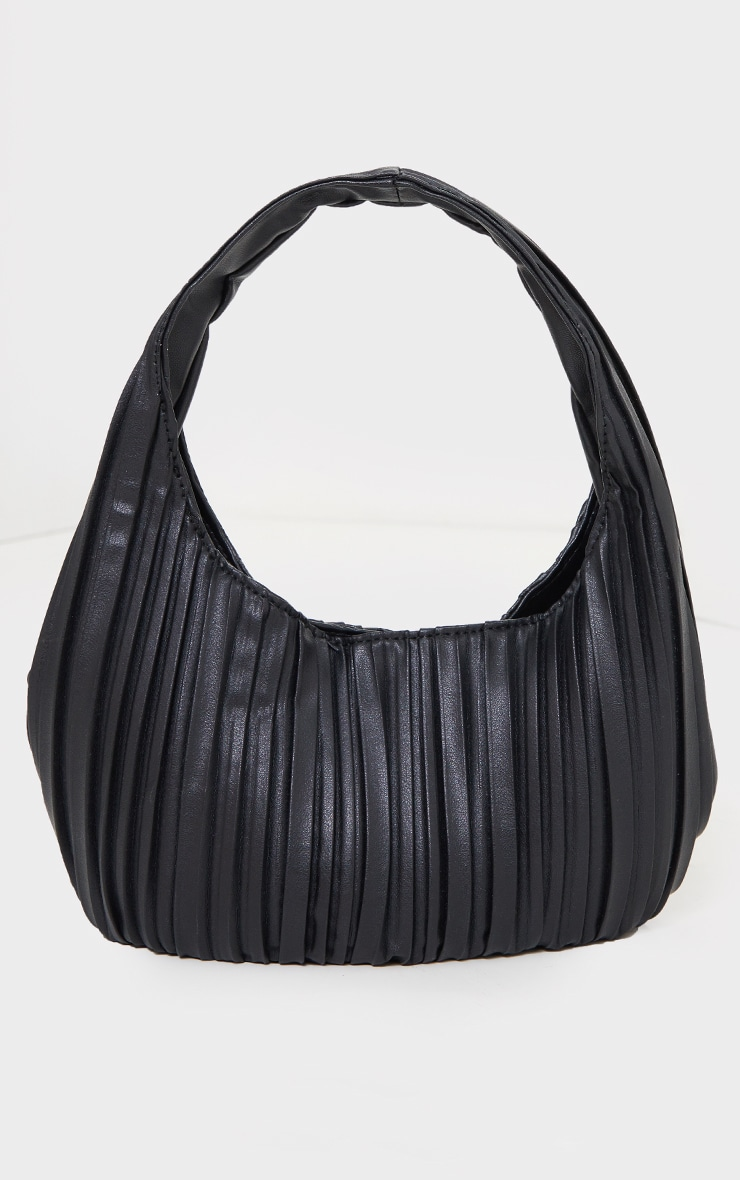 Black Pleated Front Rounded Shoulder Bag 2