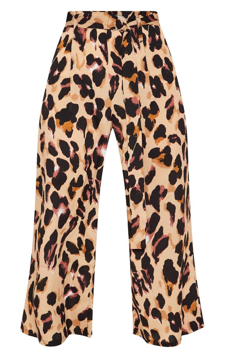 Tan Satin Leopard Print Culotte Pants 3