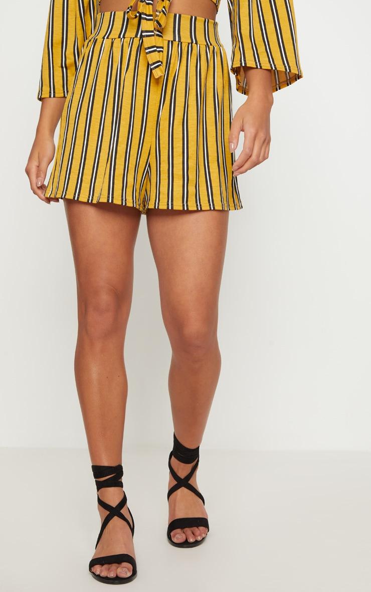 Petite Mustard Striped Shorts 2