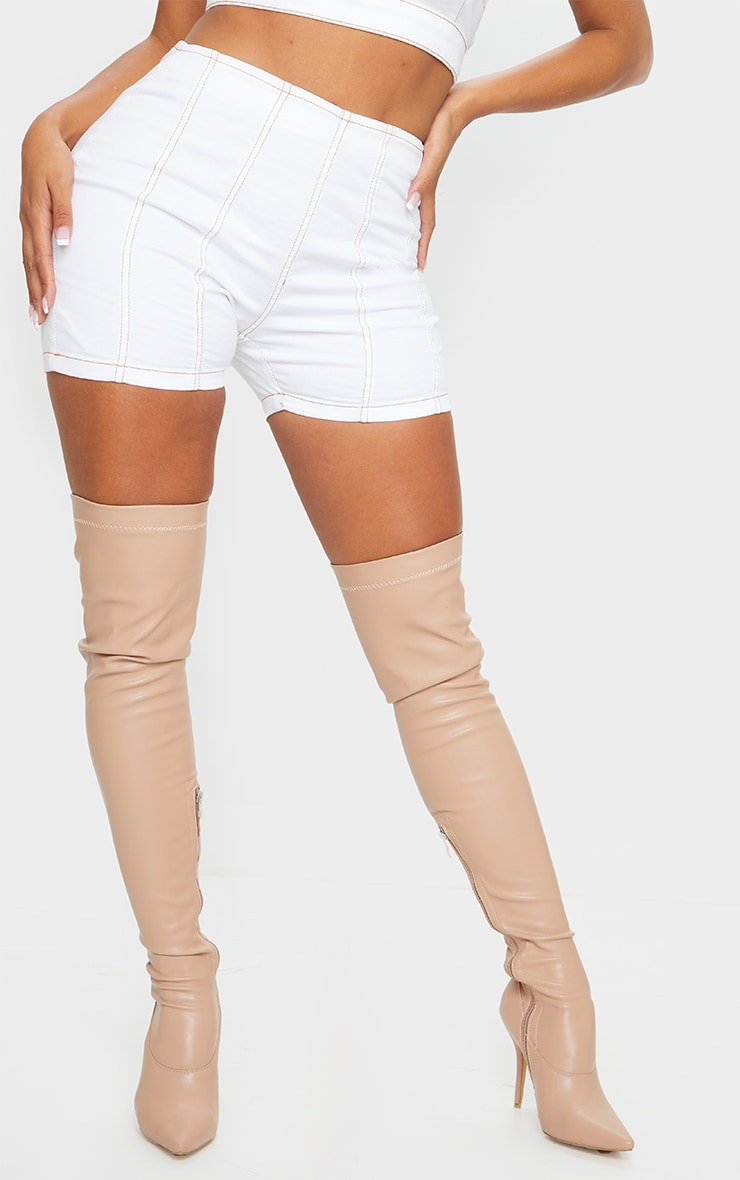 Shape White Denim Contrast Stitch Fitted Shorts 2