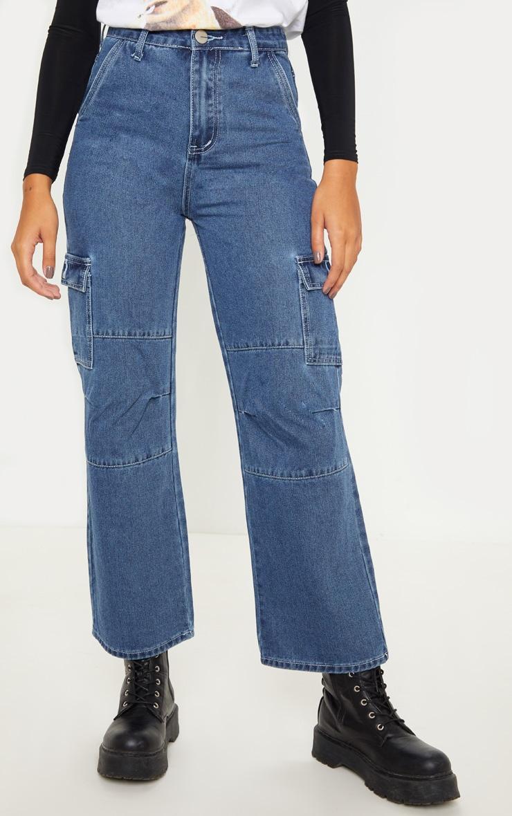 Dark Wash Contrast Stitch Cropped Wide Leg Cargo Jean 2