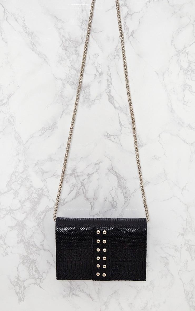 Black Snakeskin Studded Shoulder Bag 5