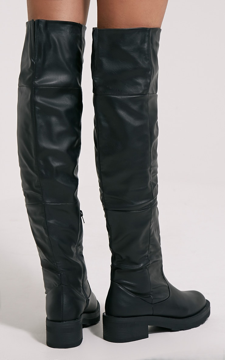 Varley Black Faux Leather Thigh High Flat Boots 2