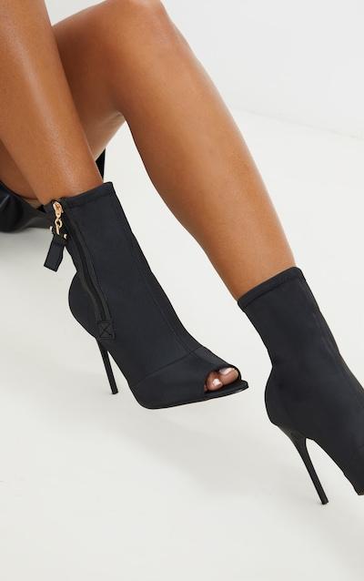 Black Neoprene Side Zip Peep Toe Sock Boot