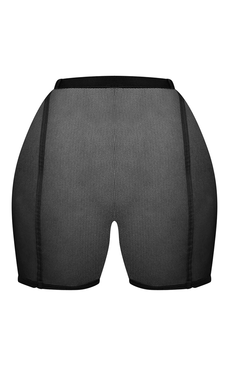 Plus Black Mesh Piped Cycle Shorts 6