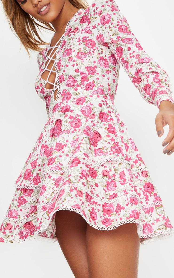 Pink Floral Trim Detail Tiered Skater Dress 5
