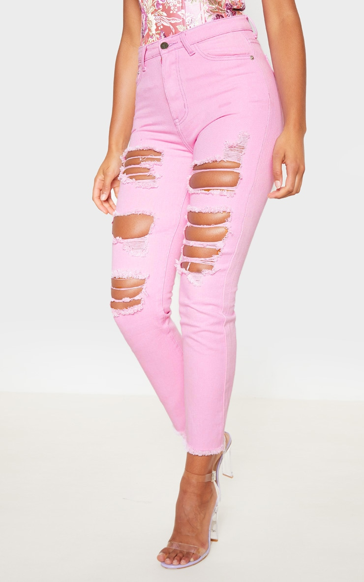 Lilac Extreme Distressed Mom Jeans  2